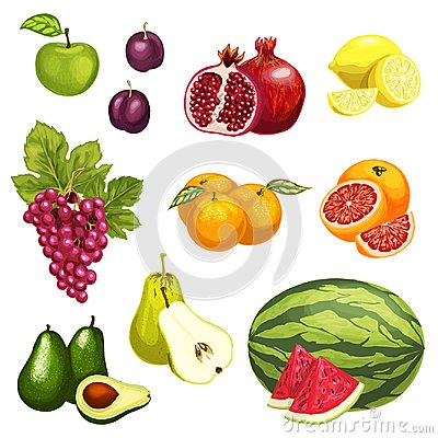 Free Vector Flat Icons Of Tropical Exotic Fruits Royalty Free Stock Photo - 104770525