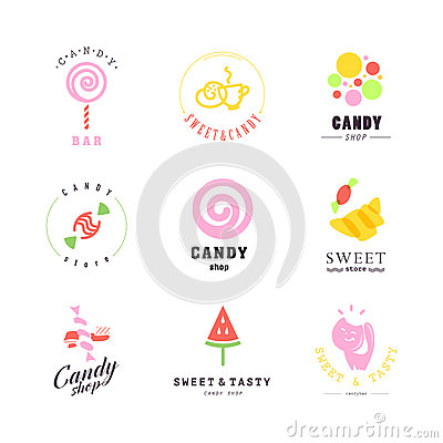 Free Vector Flat Logo Collection For Candy Shop And Sweet Store. Royalty Free Stock Photography - 65342267