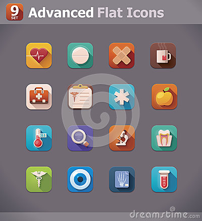 Vector flat medicine icons