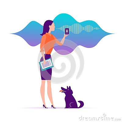 Free Vector Flat Personal Online Assistant Illustration. Office Girl With Smartphone Microphone Dynamic Icon, Sound Waves. Stock Photo - 128694450