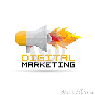 Free Vector Flat Pixel Art Megaphone Icon With Fire Royalty Free Stock Images - 41209019
