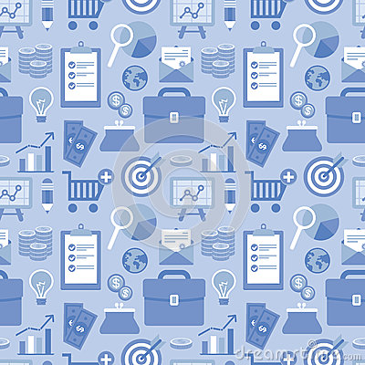 Free Vector Flat Seamless Pattern With Business Icons Stock Images - 34678874