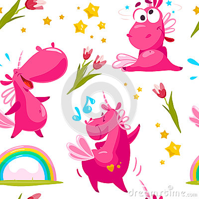 Free Vector Flat Seamless Pattern With Funny Unicorn Characters, Stars, Rainbow And Spring Tulip Flower Isolated On White Background. Stock Photos - 91591813