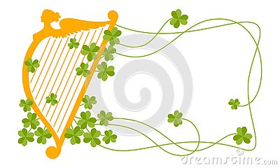 Background with orange harp and green clover leaves. Vector Illustration