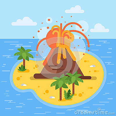 Free Vector Flat Style Illustration Of Volcano On Tropical Island. Royalty Free Stock Photos - 81968958