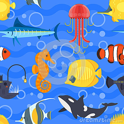 Vector flat style seamless pattern with exotic fish. Vector Illustration