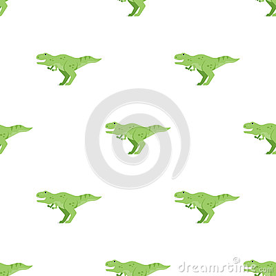 Vector flat style seamless pattern with green dinosaur t-rex. Vector Illustration
