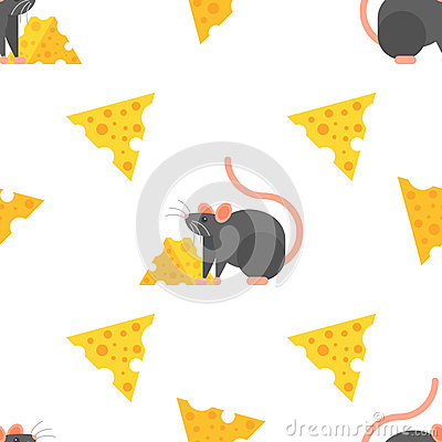 Vector flat style seamless pattern with mouse and cheese. Vector Illustration