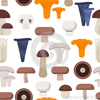 Vector flat style seamless pattern with various eatable mushrooms Vector Illustration