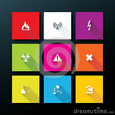Vector flat warning icon set