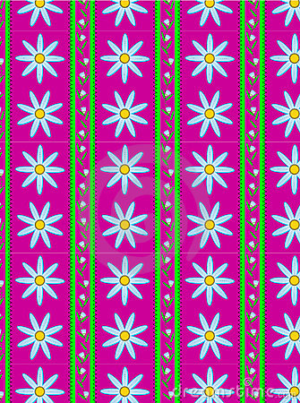Vector Flora Pink Striped Wallpaper Background