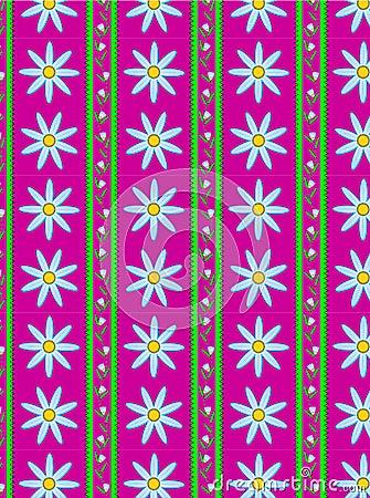 Vector Flora Pink Striped Wallpaper Background