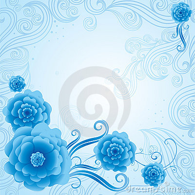 Vector Floral blue vintage background