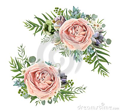 Free Vector Floral Bouquet Design: Garden Pink Peach Lavender Rose Wa Stock Image - 107292541