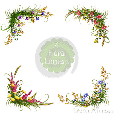 Free Vector Floral Corners On Transparent Background Royalty Free Stock Photography - 50688047
