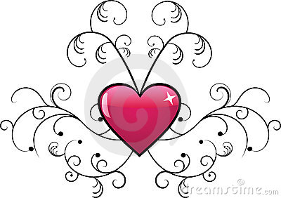 Vector floral design with heart