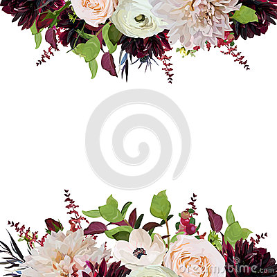 Free Vector Floral Design Square Card Design Pink Rose Burgundy Dahlia Flowers Anemone Red Astilbe Agonis Green Garden Leaves Wedding Stock Image - 97458501