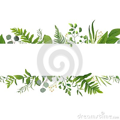 Free Vector Floral Greenery Card Design: Forest Fern Frond Eucalyptus Stock Images - 107291544