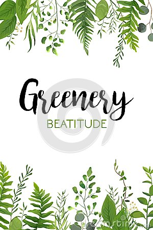 Free Vector Floral Greenery Vertical Card Design: Forest Fern Frond E Royalty Free Stock Image - 102237576