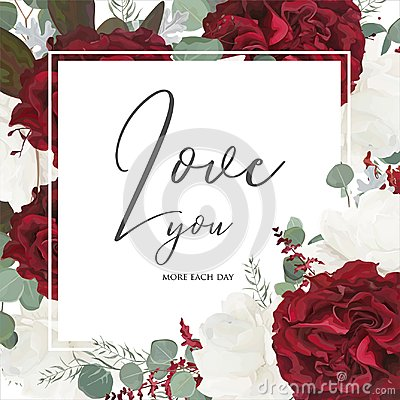 Free Vector Floral Greeting Card Design With Red And White Garden Ros Stock Photos - 109542883