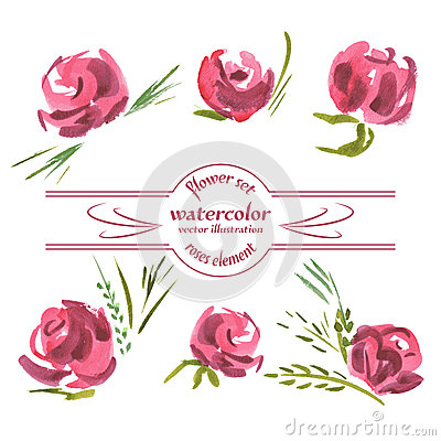 Free Vector Floral Of Painted Red Roses Watercolor Royalty Free Stock Photography - 54740267