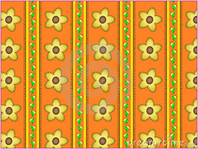 Vector Floral Orange Striped Wallpaper Background