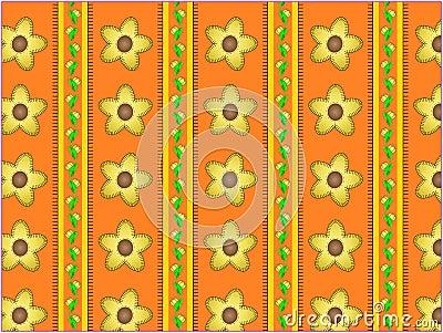Vector Floral Orange Striped Wallpaper Background