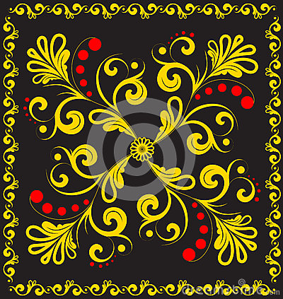 Vector floral ornament on black.