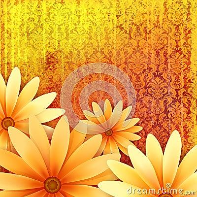 Vector floral ornate grunge background