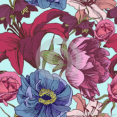 Free Vector Floral Seamless Pattern With Peonies, Lilies, Roses Stock Photos - 60153083