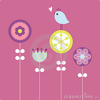 Free Vector  Flower And Bird Stock Image - 8161781