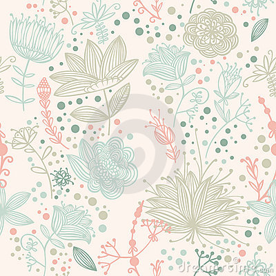 Free Vector Flower And Leaf Retro Pattern Royalty Free Stock Images - 20650579