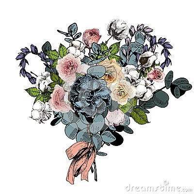 Free Vector Flower Arrangement. Wedding Bouquet. English Roses, Eucalyptus, Cotton And Succulents.  Royalty Free Stock Image - 84743316