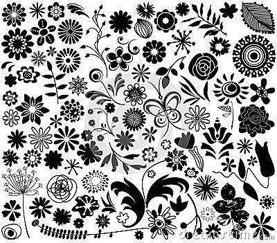 Vector flower elements