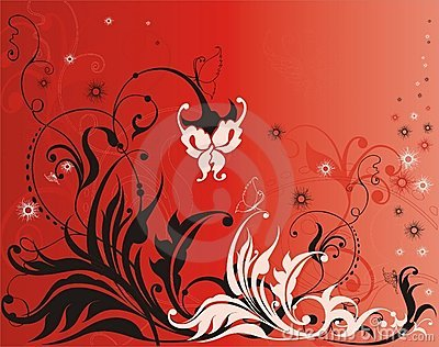 Vector flower elements on red background