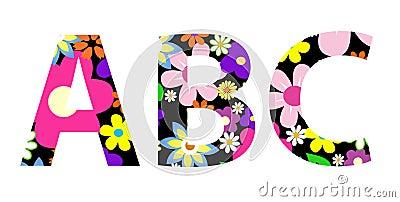 Vector flower font ABC