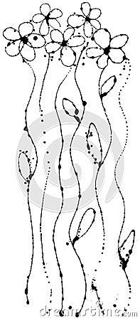 Vector flower of ink strokes