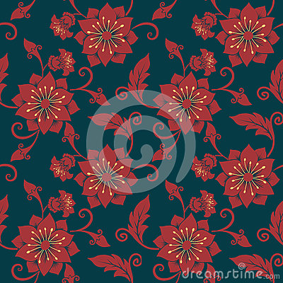 Free Vector Flower Seamless Pattern Background. Elegant Texture For Backgrounds. Classical Luxury Old Fashioned Floral Stock Photography - 91130992