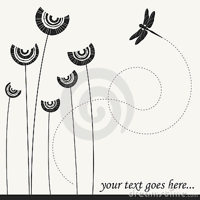 Vector flowers with dragonfly...