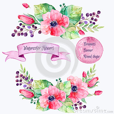 Free Vector Flowers Set.Colorful Floral Collection With Leaves And Flowers,drawing Watercolor. Stock Photos - 54497293