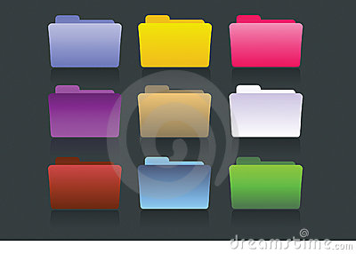 Vector folders different colors