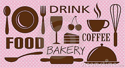 Vector of food,drink,bakery and coffee