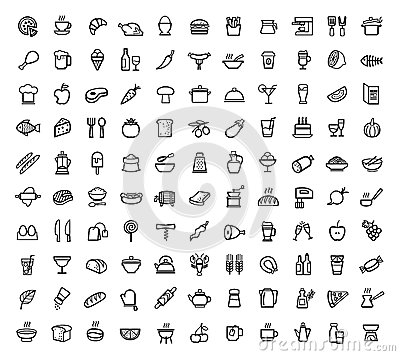 Free Vector Food Icons Set Royalty Free Stock Photo - 37192295