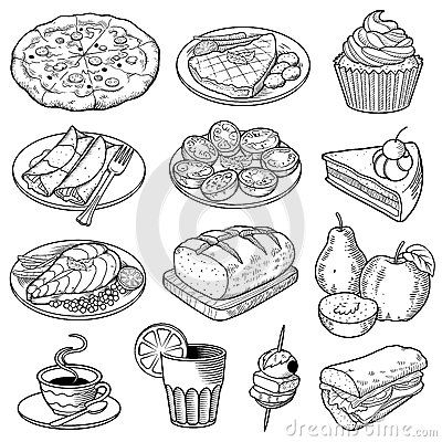 Free Vector Food Illustrations Royalty Free Stock Image - 45951836