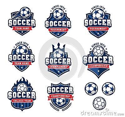 Free Vector Football Or Soccer Logos Set 2 Royalty Free Stock Photography - 71631297