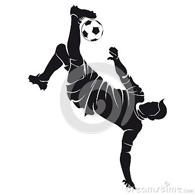 Vector football (soccer) player silhouette with ba Vector Illustration