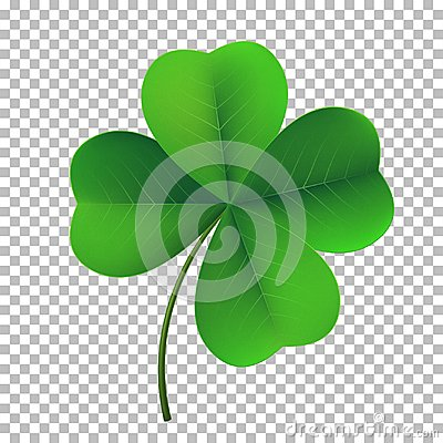 Vector four-leaf shamrock clover icon. Lucky fower-leafed symbol of Irish beer festival St Patrick`s day Vector Illustration
