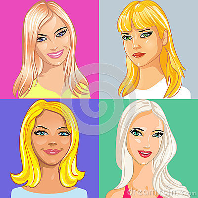 vector Four young beautiful blonde girl smiling