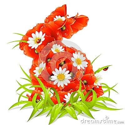 Vector Frühlingsblumen in der Form des Ostern-Rabbiners