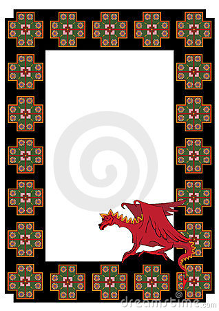 Vector frame with  dragon